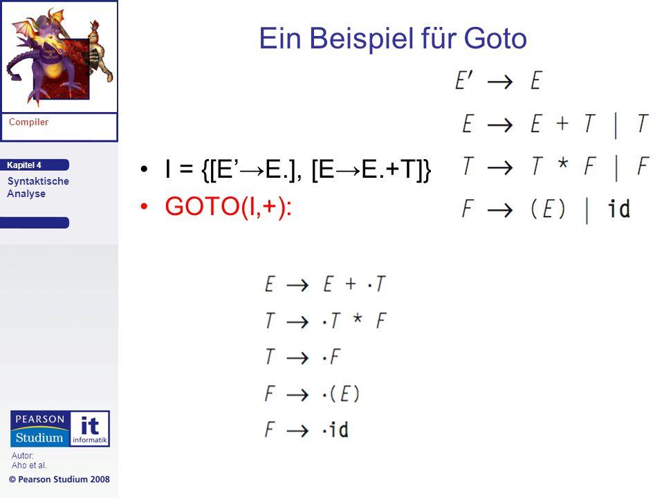 Ein Beispiel für Goto I = {[E'→E.], [E→E.+T]} GOTO(I,+):